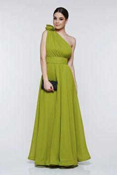 rochie lunga de seara din voal verde