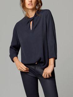 T-SHIRT MET GEKNOOPTE HALS - Lange mouwen - T-shirts - WOMEN - Netherlands