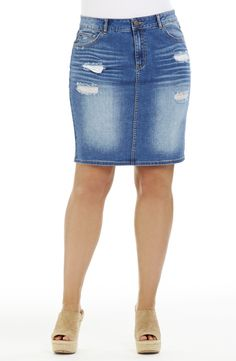 'Rip' Detail Denim Skirt/indigo Style No: Stretch Denim Skirt. This classic shape skirt features a distress wash and rip detail. The back has a centre split and 2 pockets. Stretch Denim Skirt, Blue Denim, Indigo, Diva, Plus Size, Detail, Classic, Skirts, Centre