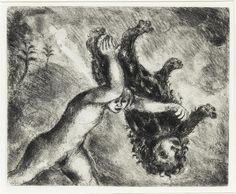 Samson kills a young lion (Judges, XIV, 5 6) by @artistchagall #naïveart