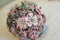 Wedding Brooch Bouquet - Nic's Button Buds  Pink, Champagne, Silver