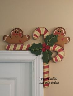 Hand Painted Gingerbread and Candy Canes Door by stephskeepsakes, $19.95 I NEED THIS!