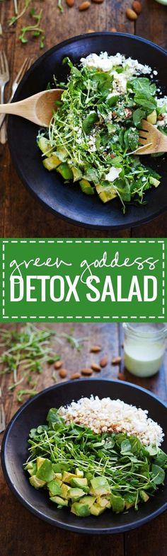 Green Goddess Detox Salad - avocado, almonds, spinach, pea shoots, and healthy homemade Green Goddess dressing. Healthy + yummy. | pinchofyum.com
