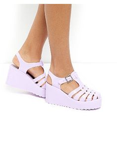 Lilac Gladiator Jelly Wedges   New Look