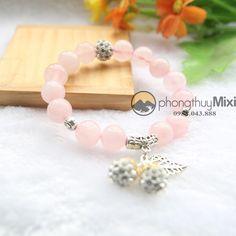 Vòng tay phong thủy Thạch anh hồng 10ly mix phụ kiện  #Mixi #Bracelet