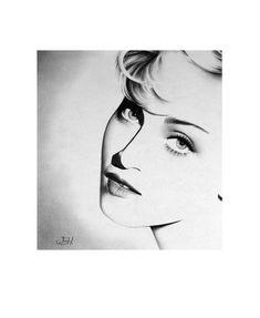 Madonna Pencil Drawing Fine Art Print Portrait by IleanaHunter, $14.99