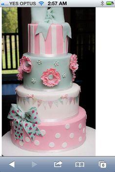 Gorgeous pastel bunting cake
