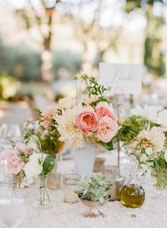 milk glass flower arrangement