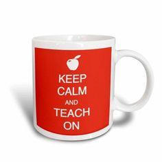 3dRose Keep calm and teach on, Ceramic Mug, 15-ounce