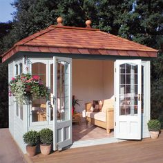 I would love this in my back yard! 10' x 8' Ashton with square leaded windows and doors.