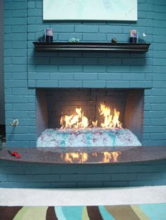 Burner Pan with Fire Glass in Fireplace | Fireplace Ideas ...