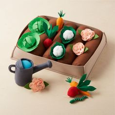 Felt Garden Set at Crate and Barrel Canada. Discover unique furniture and decor from across the globe to create a look you love. Diy For Kids, Gifts For Kids, Kids Fun, Arts And Crafts, Diy Crafts, Felt Crafts Kids, Garden Crafts, Felt Food, All Toys