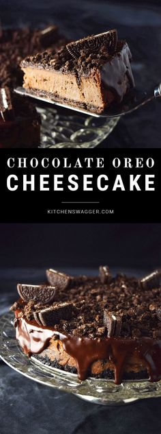 Easy and rich chocolate Oreo cheesecake recipe. A rich and simple dark chocolate cheesecake with a serious Oreo twist and melted chocolate ganache. Chocolate Oreo Cheesecake Recipe, Oreo Cheesecake Recipes, Chocolate Desserts, Chocolate Ganache, Oreo Recipe, Oreo Desserts, Oreo Brownies, Raspberry Cheesecake, Chocolate Chocolate
