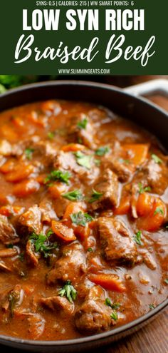 This Low Syn Braised Beef is pure comfort in a bowl and one of my favorite casserole dishes. perfect fall and winter food. Stew Meat Recipes, Casserole Recipes, Casserole Dishes, Cooking Recipes, Healthy Recipes, Savoury Recipes, Diet Recipes, Recipies, Slow Cooker Slimming World