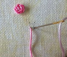 Humming Needles: Stem Stitch Rose with Knotted Center - Tutorial