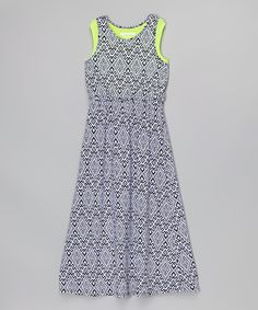 Squeeze Neon Green Geometric Maxi Dress - Girls | zulily