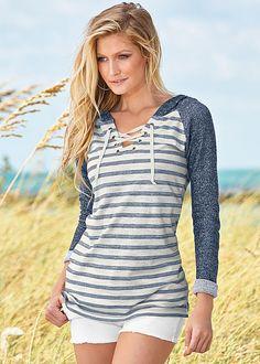 Your night on the beach sweatshirt. Venus striped lace up sweatshirt.