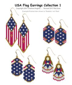 USA Flag Earrings Collection 1 | Bead-Patterns.com