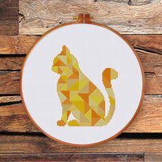 Geometric Cat cross stitch pattern Modern triangle by ThuHaDesign