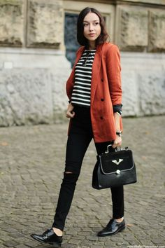 Blazer, striped top, skinny jeans, vintage bag and watch, oxfords
