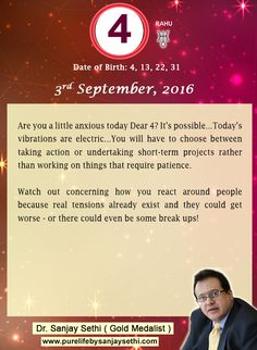 #NumerologyPrediction for 3rd September 2016 by #DrSanjaySethi World's No.1 #AstroNumerologist.
