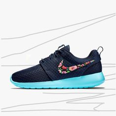 Custom Nike Roshe run Floral design, Hand painted floral, lilac flower, Women's Nike Roshe Custom, Cute and Trendy