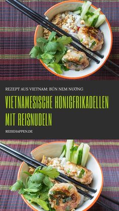 Vietnamesisches Rezept – Honigfrikadellen mit Reisnudeln Vietnamese honey cakes with rice noodles Hamburger Meat Recipes, Meatloaf Recipes, Nem Nuong, Rice Recipes For Dinner, Vegetarian Recipes, Healthy Recipes, Healthy Fats, Healthy Choices, Snack Recipes