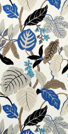 Braemore Rossano Perri Fabric #floral #blue #gray #drapery