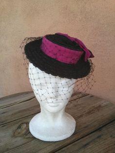 Vintage 1940s Straw Hat Saks Debutante 40s Tilt Perch Fascinator 2016220 by bycinbyhand on Etsy