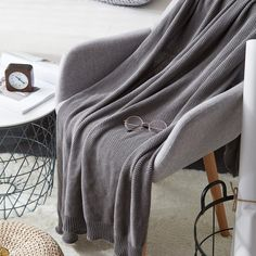 Dark Grey Cotton Cable Knit Throw Blanket for Couch Sofa Chair Home Decorative Gray Color 50 x 60 Inch 2.2 pounds Come With a Washing Bag Longhui bedding