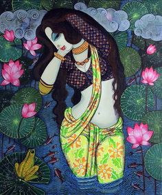 Painting Of Girl, Mural Painting, Figure Painting, Madhubani Art, Madhubani Painting, Rajasthani Art, Indian Folk Art, Indian Art Paintings, Hindu Art