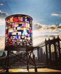 Water tower in front of Brooklyn Bridge