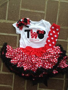 Red and black minnie mouse birthday outfit  2nd by CEBowtique, $52.00