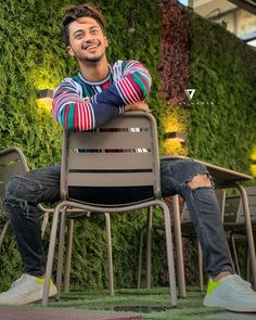 Image may contain: one or more people, people sitting, shoes, stripes and outdoor Mens Photoshoot Poses, Cute Boy Photo, Chocolate Boys, Indian Boy, Cute Stars, Best Friendship, Boy Poses, Team 7, People Sitting