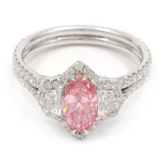 """Flor de la Mar"" Pink Diamond Ring This platinum ring features a stunning marquise 0.90 carat, Argyle Fancy Intense Pink Diamond. An Argyle pink diamond is beyond rare. It is the most revered diamond in the world & a treasure like no other. An unsurpassed heirloom. Wixon Jewelers - Minneapolis, MN"