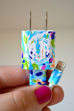 Lilly Pulitzer Vinyl Monogram iPhone Charger Wrap by TheGatorbug