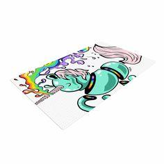"Anya Volk ""Gummy Unicorn"" Teal Pink Woven Area Rug"