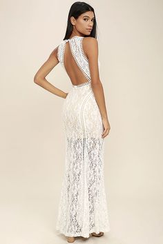 Lulus Exclusive! We can't think of anything more lovely than a night in the Better With You Ivory Lace Maxi Dress! Floral lace and embroidered trim tops a nude liner as it shapes a plunging V-neck, darted bodice, and open back with top button. Flaring mermaid maxi skirt. Hidden back zipper/hook clasp.