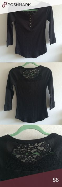 Mudd Black Henley Top Black three-quarter sleeve length thermal henley, five usable silver buttons on the front and less on the back. All offers welcome! Mudd Tops Tees - Long Sleeve