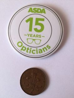 Asda #supermarket staff #button pin #badge (see pics) 15 years opticians,  View more on the LINK: http://www.zeppy.io/product/gb/2/262806604303/