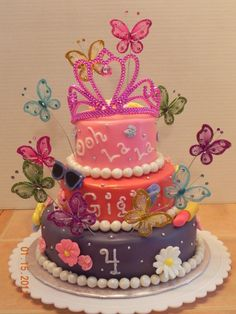 Fancy Nancy cake. Wonder if I could do this.. I'm just going to say LOL probably not, but it is a great idea