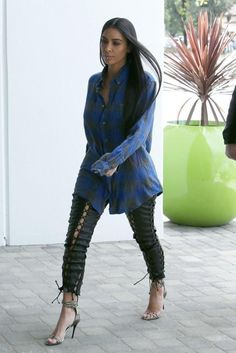 Kim Kardashian wearing Giuseppe Zanotti Snake-Print Ankle Wrap Sandal Gray, Unravel Lace Up Leather Pants and Rag & Bone Beach Plaid Slim Fit Button-Down Shirt