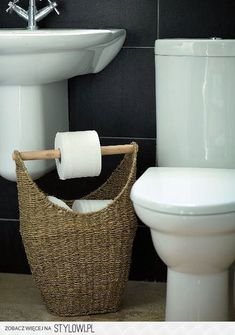DIY Toilet Paper Storage Basket Is A Basket That Can Be Filled With Toilet  Paper Rolls With A Wood Rod That Acts As A Toilet Paper Holder.