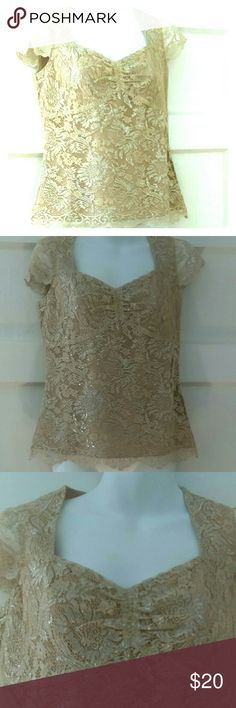 Champagne & Shimmer sweetheart top Ann Taylor Loft An elegant sweetheart neck empire waist lace top from Ann Taylor Loft Petites. Fully lined in tan, the lace is champagne in color with a silver lame running through it. Gathered on bust, delicate cap sleeves,  scalloped bottom. Invisible side zipper. This top will make a simple skirt or pants absolutely stunning. Bundle for additional savings. LOFT Tops