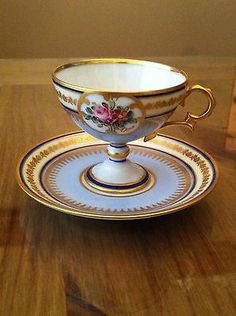 Limoges Tea Cup Saucer Pedestal Delicate Blue Gold Signed Hand Painted