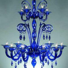 Blue 12 Light Murano Crystal Chandelier