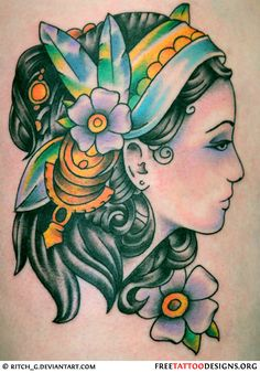 Old school gypsy tattoo Best Tattoos For Women, Trendy Tattoos, Tattoo Women, Old School Tattoo Designs, Tattoo Designs Men, Music Tattoos, Girl Tattoos, Gypsy Tattoos, Desenhos Old School