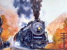Old Train engine in this  watercolor painting.