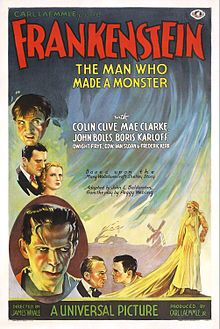 Frankenstein poster 1931.jpg ...FRANKENSTEIN...a horror monster film from Universal Pictures. Loosely based on the novel by the same name. stars Colin Clive, Mae Clark, John Boles, and Boris Karloff ...1931...