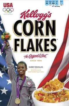 Almost immediately, Kelloggs announced that Douglas would grace the cover of a Corn Flakes box, releasing the mock-up for all to see. It should be one of many promotional materials for the young athlete. Photograph (c) Reuters